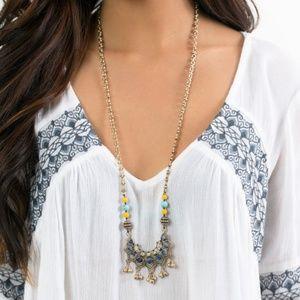 Golden Lotus Long Pendant Necklace